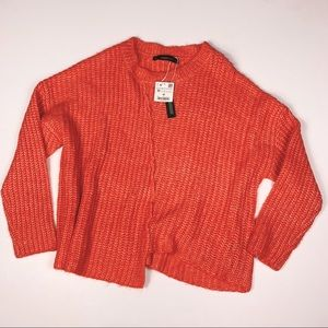 Zara Orange Chunky Knit Crew Neck Sweater